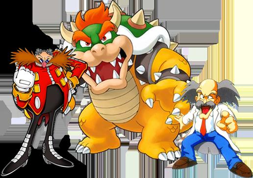 Eggman (Sonic), Bowser (Super Mario), Wily (Megaman), personajes que aparecerán en Wreck It Ralph