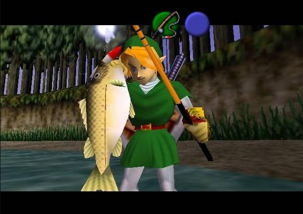 En The Legend Of Zelda Ocarina Of Time había un coto de pesca donde, si cazabas un pez enorme, conseguías un premio de los buenos