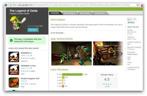 Esta es la imagen donde se detalla el tipo de juego de esta aplicación a la que yo llamo como The Legend of Zelda App