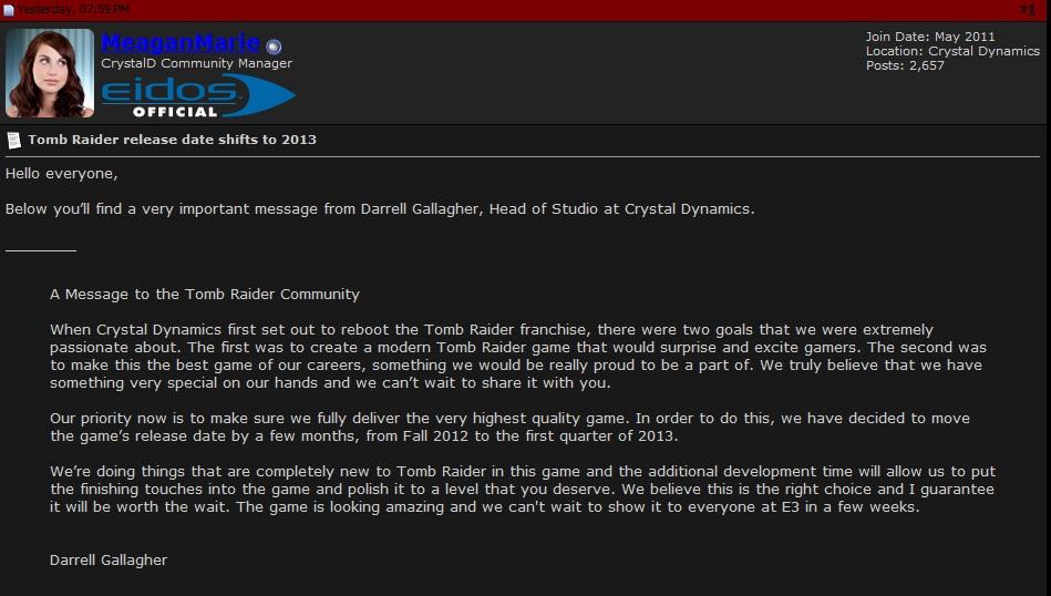 Este es el comunicado directamente capturado del foro de EIDOS. El mensaje se convirtió en noticia en la web de Tomb Raider