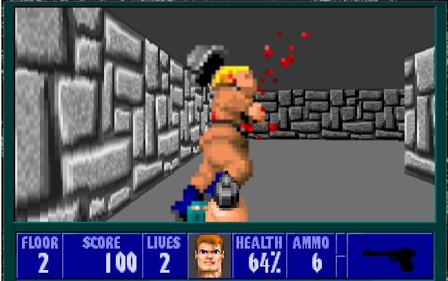 Soldados como este que me acabo de cargar los hay a miles en Wolfenstein 3D