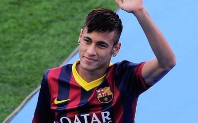Neymar en su presentación con el FC Barcelona