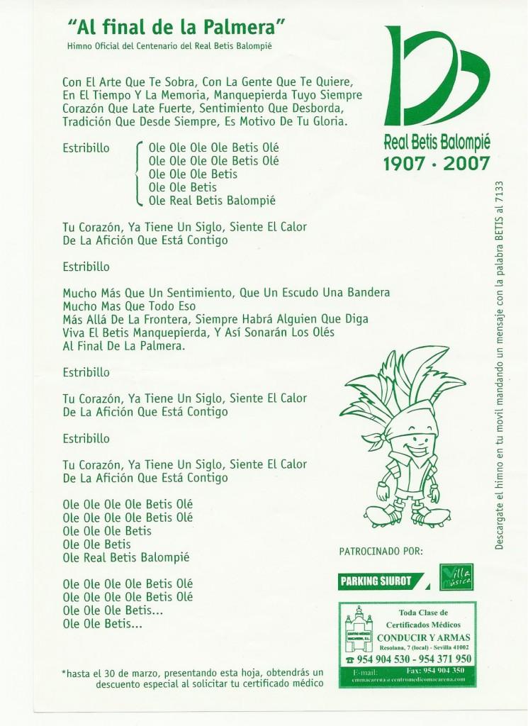 Himno Del Betis Por Juan Manuel Soto Betis Balompie Fútbol