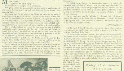 """""""Los grandes equipos"""".-La fuerza y la gracia del Betis Balompié.-85Aniversario."""